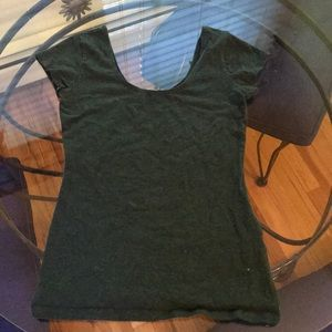 Army Green Scoop neck t